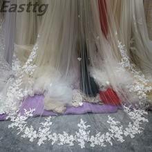 Реальные фотографии Свадебные вуали одного слоя 35 м Роскошная