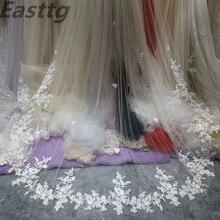 Fotos reais véus de noiva uma camada 3.5m luxuoso longo branco marfim nupcial acessório véu para noivas laço véu de casamento com pente