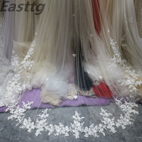 Real Photos Bridal Veils One Layers 3.5M luxurious Long White Ivory Bridal Accessory Veil For Brides Lace Wedding Veil with Comb
