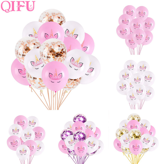 QIFU Happy Birthday Balloons Unicorn Balloons Set Unicorn Birthday Baloon Latex Balloon Birthday Party Decorations Kids Supplies