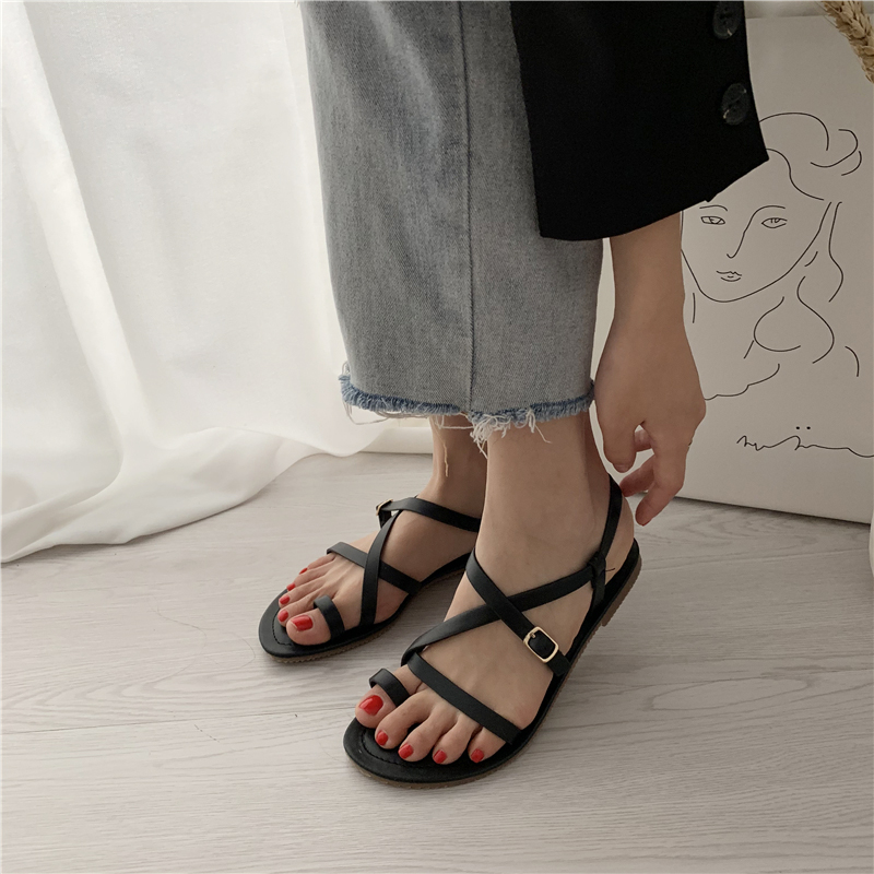 2019 Summer Women Sandals Flats Narrow Band Ankle Strap Roman Gladiator Buckle Shoes