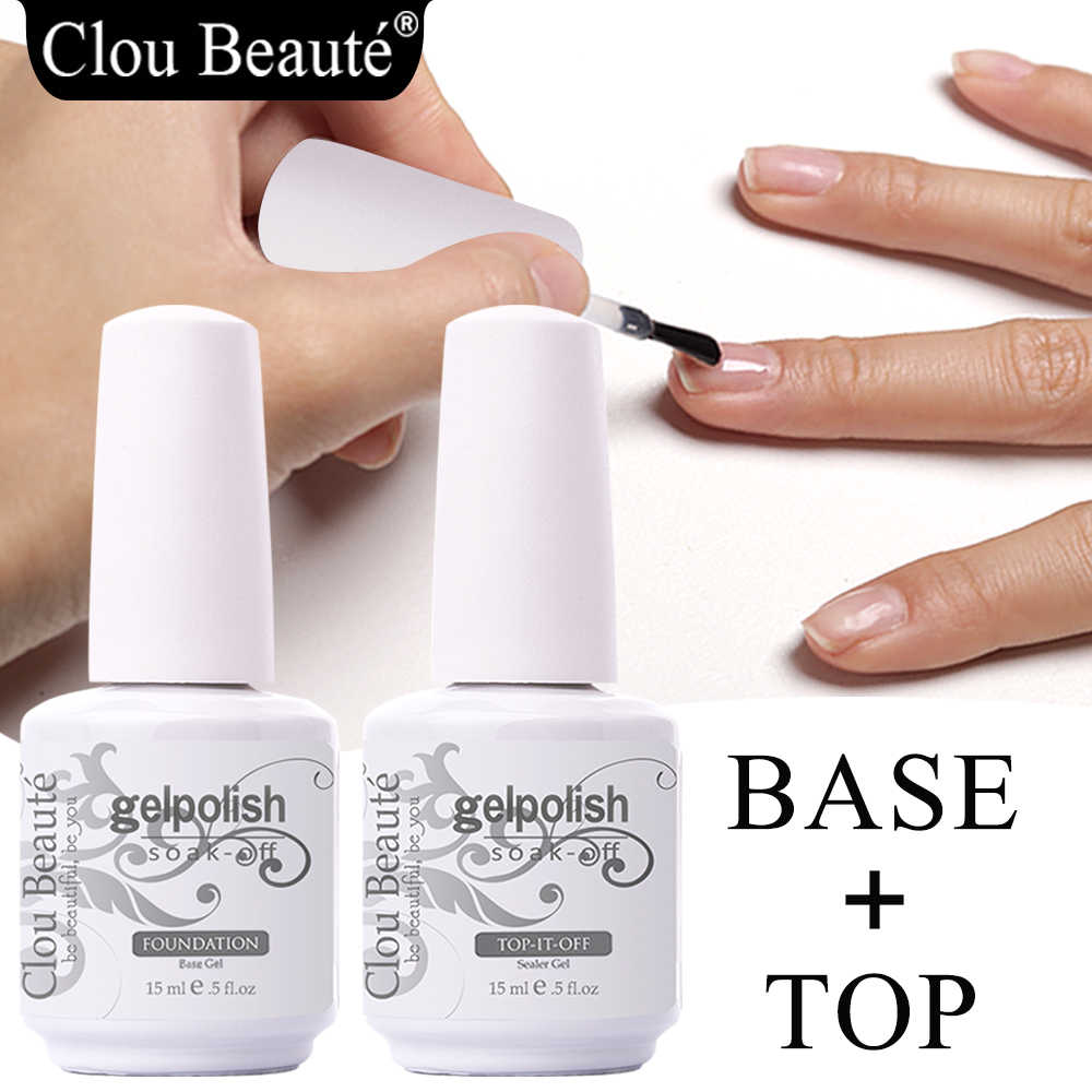 Clou Beaute Base En Top Coat Gel Nagellak Uv 15Ml Transparante Soak Off Primer Gel Polish Langdurige gel Lak Nail Art