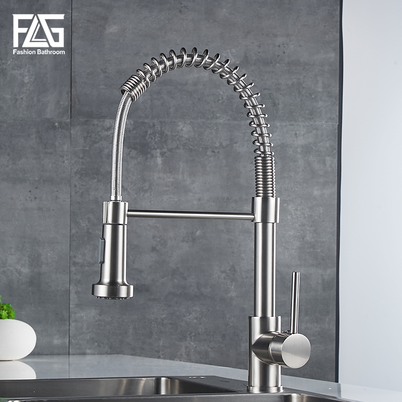 FLG Nickel Brushed Pull Out Kitchen Faucets Copper Pull Down Kitchen Tap Mixers torneiras New Design