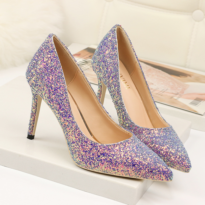 2019 Star Style Shoes Women High Heel Purple Sequin Glitter Wedding Party Pumps Ladies Shoe Stiletto Bling Pink Elegant Female