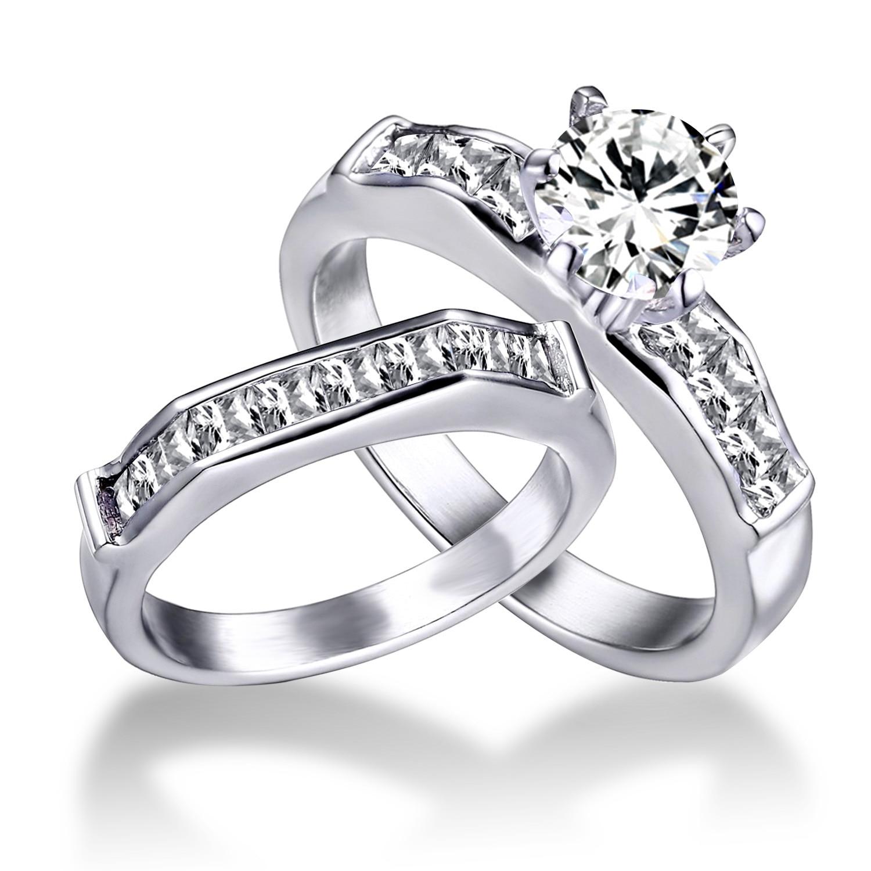 2pcslot Engagement Ring Stainless Steel Wedding Ring SetsAAA CZ