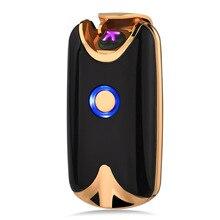 18a18d740dc Inteligente USB Arc Arc Fingerprint Indução De Carga Mais Leve de Metal À  Prova de Vento