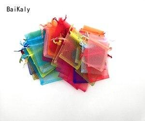 Image 2 - 500 adet İpli takı çantaları kılıfı 5x7 7x9 9x12 10x15cm organze çantalar düğün ambalaj hediye çantası parti dekorasyon takı çantası