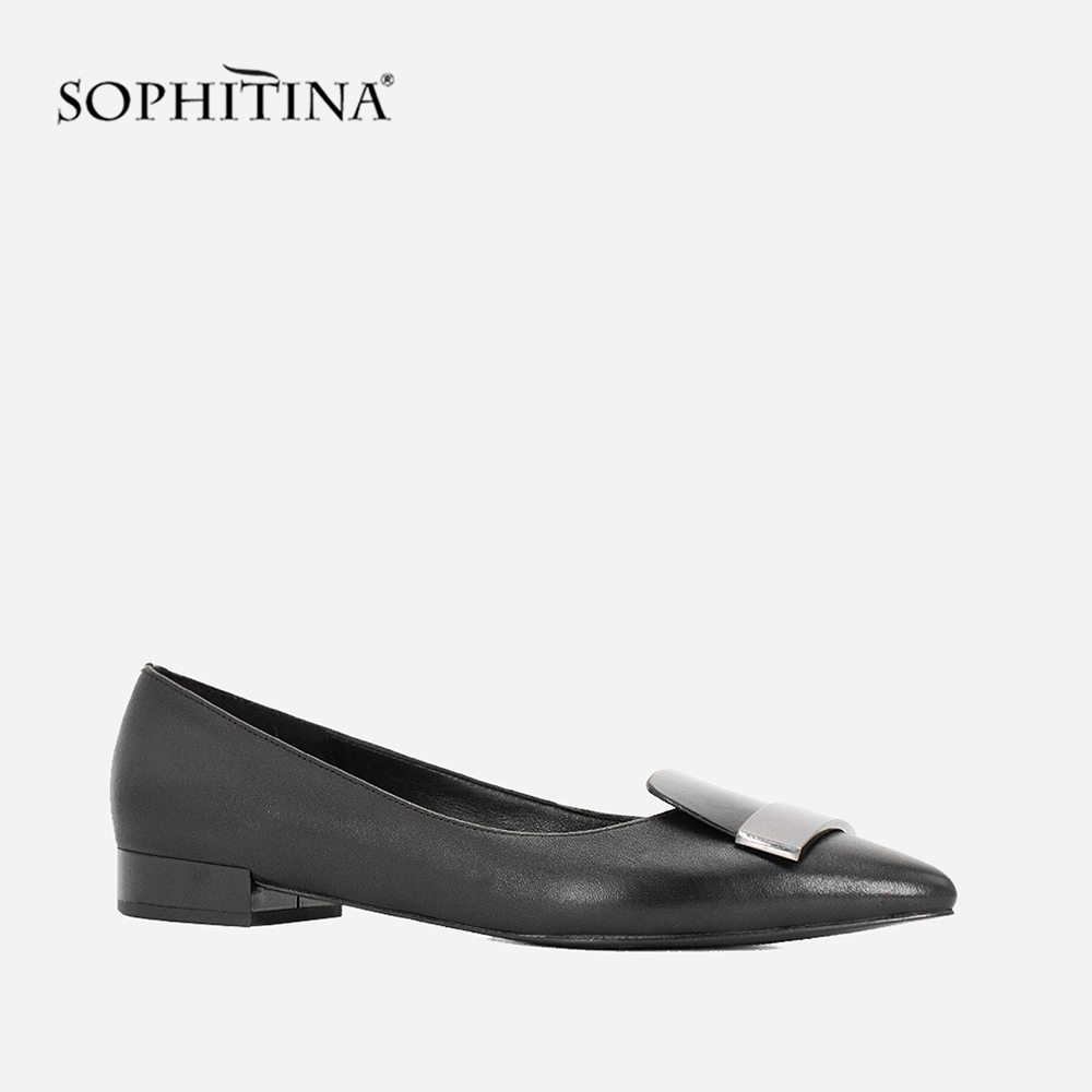 SOPHITINA Sheepskin Flats High Quality Genuine Leather Pointed Women s Metal Decoration Slip On Fashion Shoes