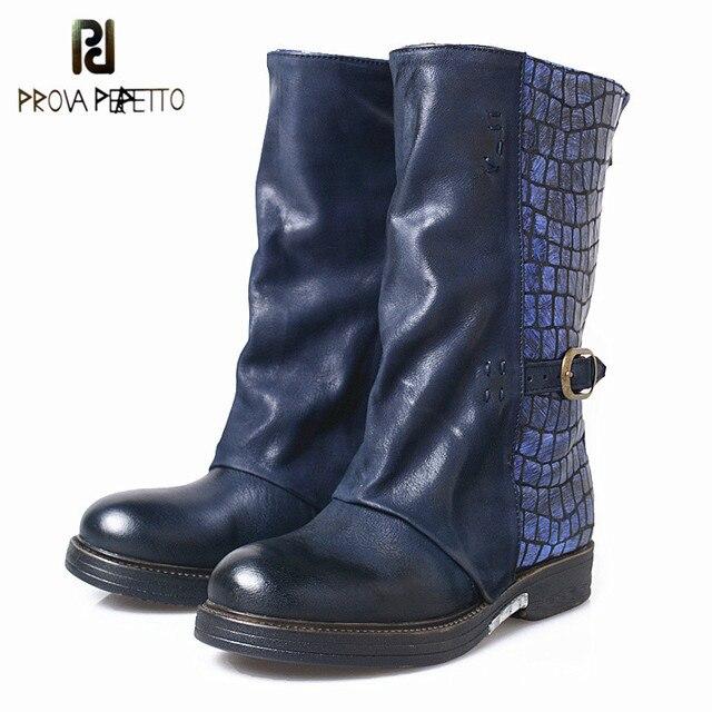 Prova Perfetto Kadın Çizme İngiliz Tarzı 2019 Moda Deri Orta Çizmeler Stingray Cilt Kısa Çizme Çizme Kış Ayakkabı Kızlar