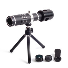 Cheap price Outdoor 18X Zoom Monocular Telephoto Lens Wide-Angle Macro Fish Eye Lens Telescope Tripod Clip Universal for Phone Camera Lens