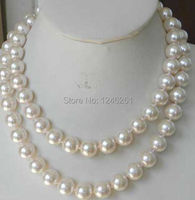 Super Long 12mm White Sea Shell Pearl Necklace Beads Jewelry Making Natural Stone Rope Chain 48inch