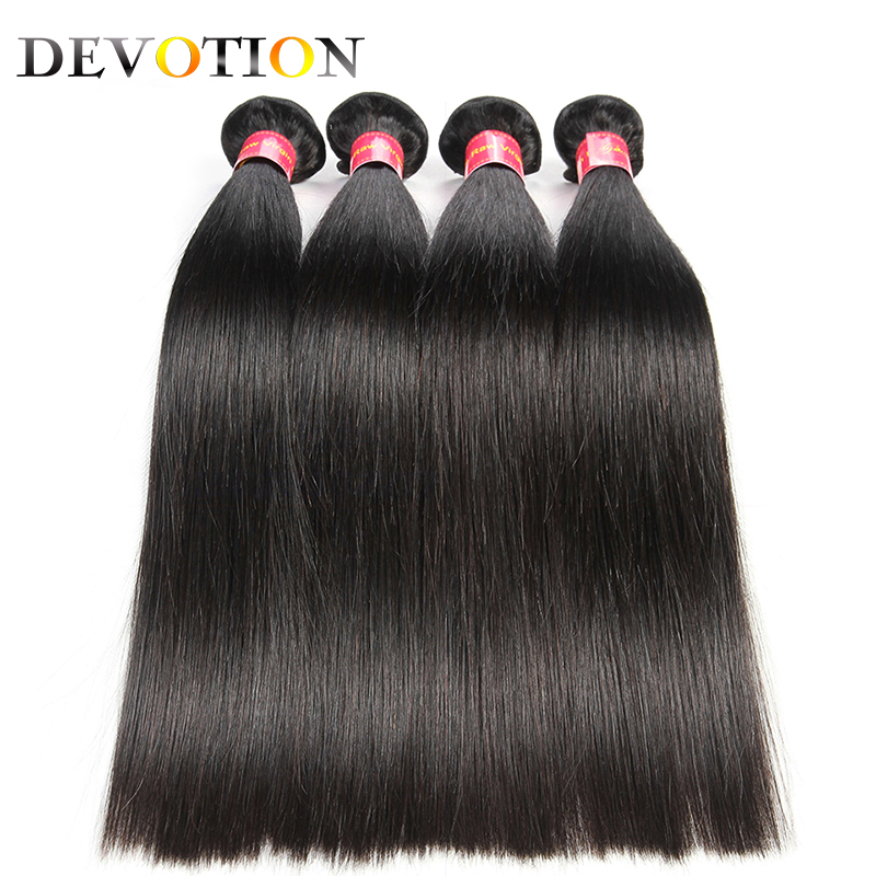 Devotion Raw Indian Straight Hair 4 Bundles 100% Human Hair Weave Bundles Non Remy Natural Color Hair Extensions Free Shipping