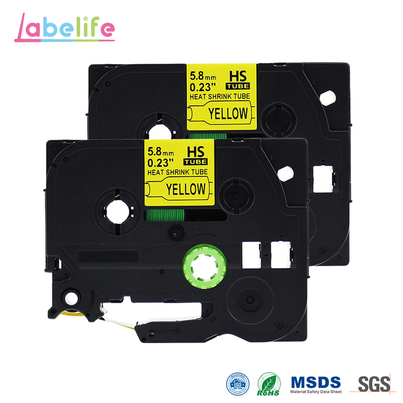 Labelife 2 Pack HSE-611 Black on Yellow 5.8mm Heat Shrink Tubing for Brother Printable Label Tape for Telecom & Industry