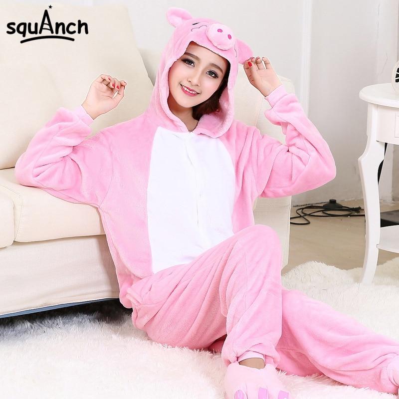 Women Kigurumi Pajama Pig Onesie Pink Cute Sleepwear Adult Girl Party Suit Good Quality Flannel Overalls Cartoon Animal Home Set