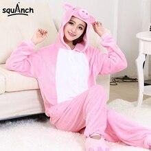 Women Kugurumi Pajama Pig Onesie Pink Cute Sleepwear Adult Girl Party Suit Good Quality Flannel Overalls Cartoon Animal Home Set