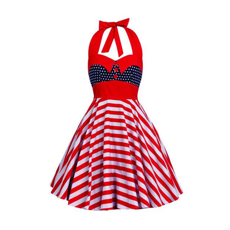 Kleider neue Unabh Tag Kleid Druck 7 Up Mode 2017 4 Pin Neckholder Vintage Flagge Amerika Usa Party 1 2 Rockabilly ngigkeit FTKl1Jc