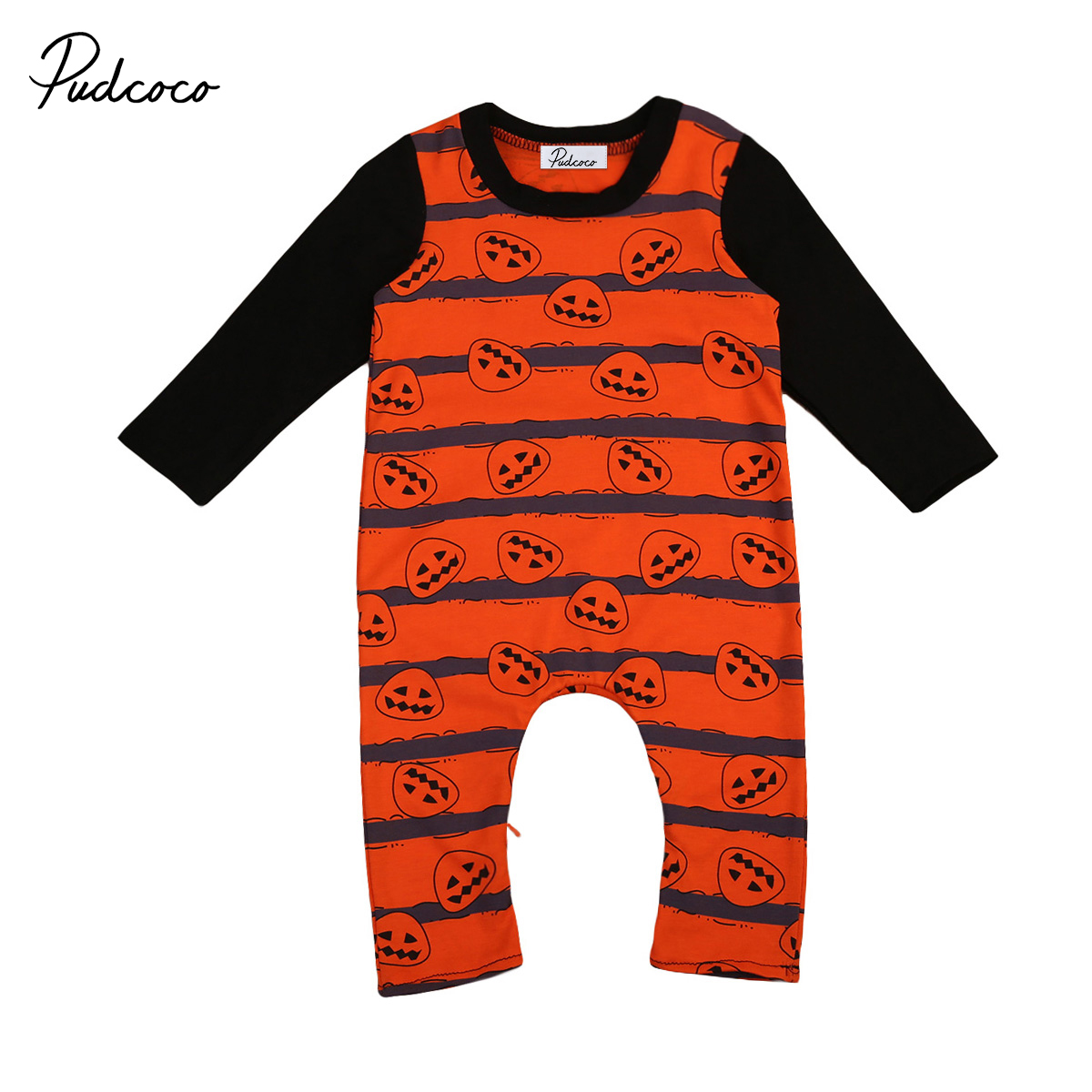 Pudcoco Baby Boys Girls Halloween Pumpkin Long Sleeve Splice Romper Playsuit Clothes Outfits Set
