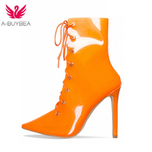 A-BUYBEA 2018  Fashion Transparent Boots Thin heel super high heels ankle boots Clear Chunky Mujer Lady Sexy Party shoes
