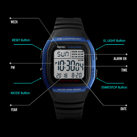 SKMEI Fashion Men Watches Sports Digital Watch Waterproof Alarm Man Wrist Electronic Clock Men Relogio Masculino Lahore