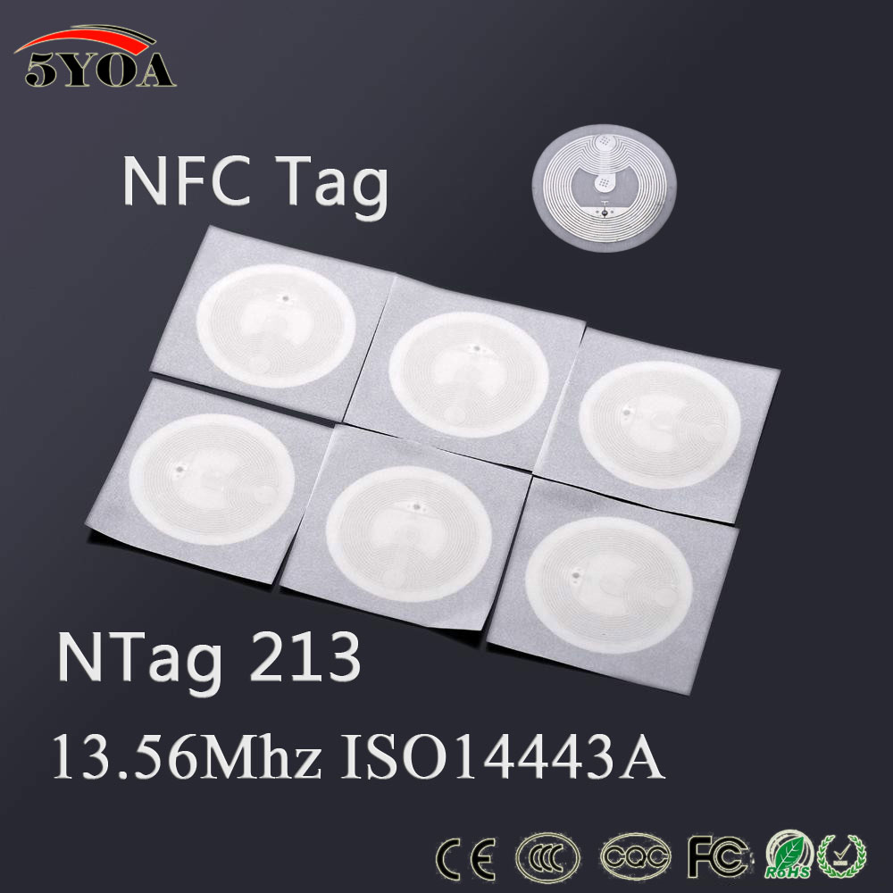 5YOA 100pcsLot 13.56MHz 213 NFC Sticker RFID Tag phones