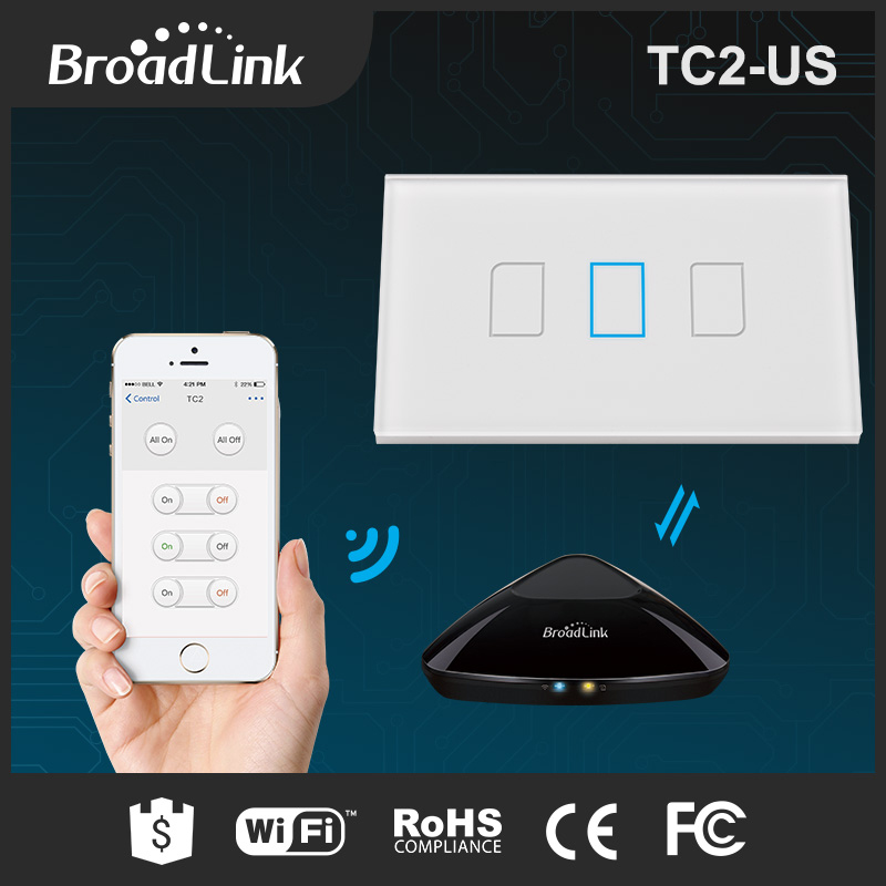 ФОТО Broadlink TC2 Home Automation Original US Touching 3gang Panel WiFi Switch IOS Android Wireless Remote Light Controller 170-240V