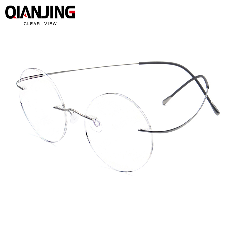 QIANJING Steve Jobs Star Style Ultra-light Memory Titanium Rimless Round Myopia Eyeglasses Optical Glasses Frame Men Eyewear