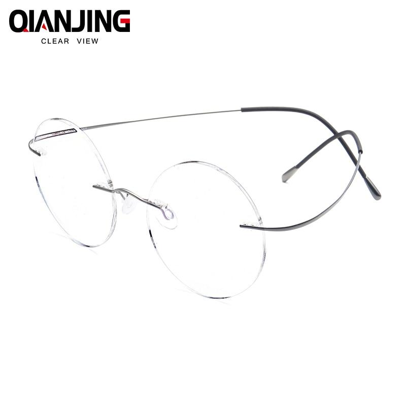 QIANJING Steve Jobs Star Style Ultra-light Memory Titanium Rimless Round Myopia Eyeglasses Optical Glasses Frame Men Eyewear