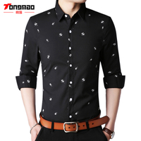 Spring New Fashion Men S Clothes Floral Printed Solid Color Mens Shirts Long Sleeve Slim Fit