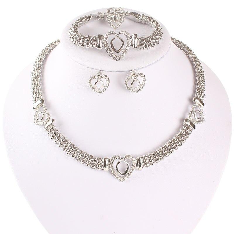 Free Shipping Dubai  Gold Color Heart Shape Necklace Set Fashion Crystal Wedding Bridal Costume Jewelry Ses 2