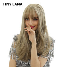 "TINY LANA Women's Wigs 22"" Long Stragiht Synthetic Hair Wig Simulation Scalp Ombre With Bangs Free Shipping For African America(China)"