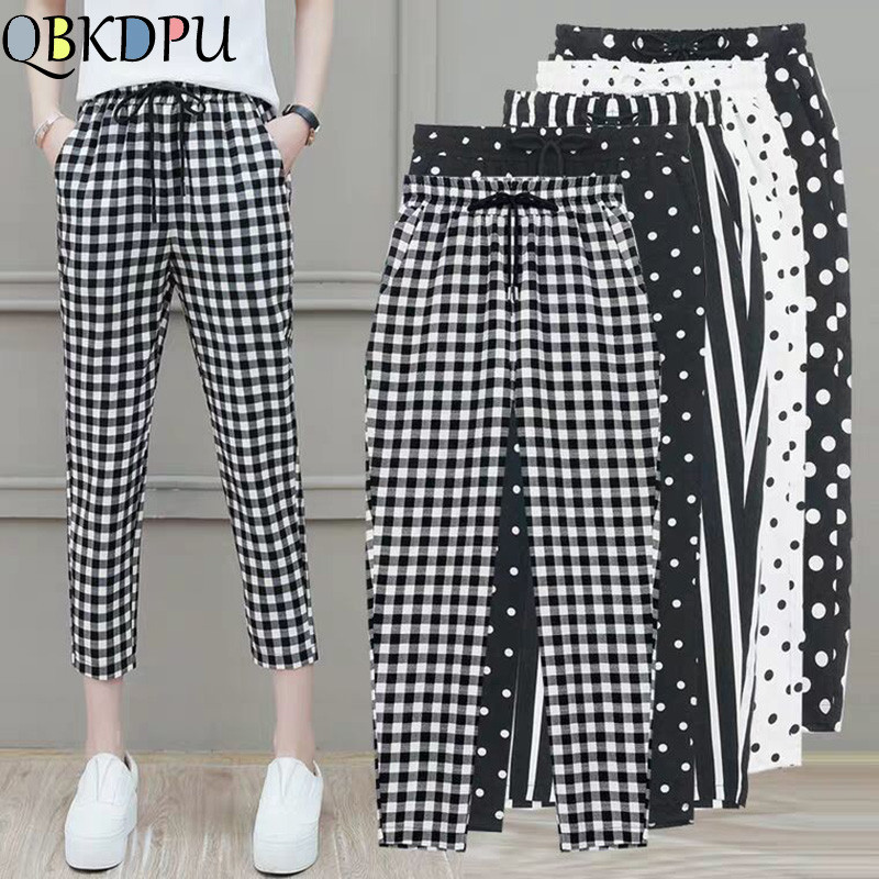 2019 New Striped Dot High Waist Harem Pants Women Elastic Waist Plus Size Summer Thin Pants Casual Female Cropped Trousers