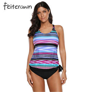 ee5af39fae Feiterawn Tied Two Piece Beach Suit Plus Size Swimwear Women Striped Tie  Dye Print