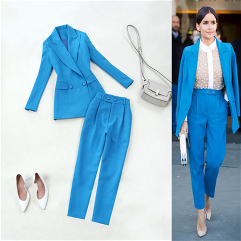 Fashion Leisure Lake Blue suit femme Spring and summer New plus size professional suit jacket slim