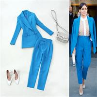 Fashion Leisure Lake Blue suit femme Spring and summer New plus size professional suit jacket + slim suit pants two suit women