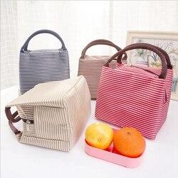 Lazer feminino portátil saco de almoço lona listra isolado refrigerador sacos comida térmica piquenique almoço sacos crianças lancheira saco tote