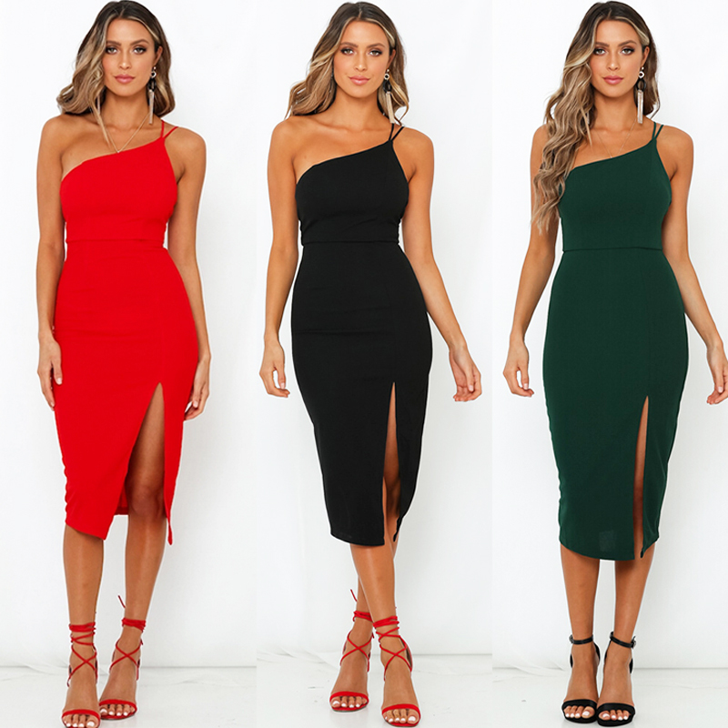 HTB1Trcse8GE3KVjSZFhq6AkaFXam Evening Party  Dress vestidos Women Backless One Shoulder Split Bodycon  Strap Christmas Red  Dresses 2019 New Arrivarls
