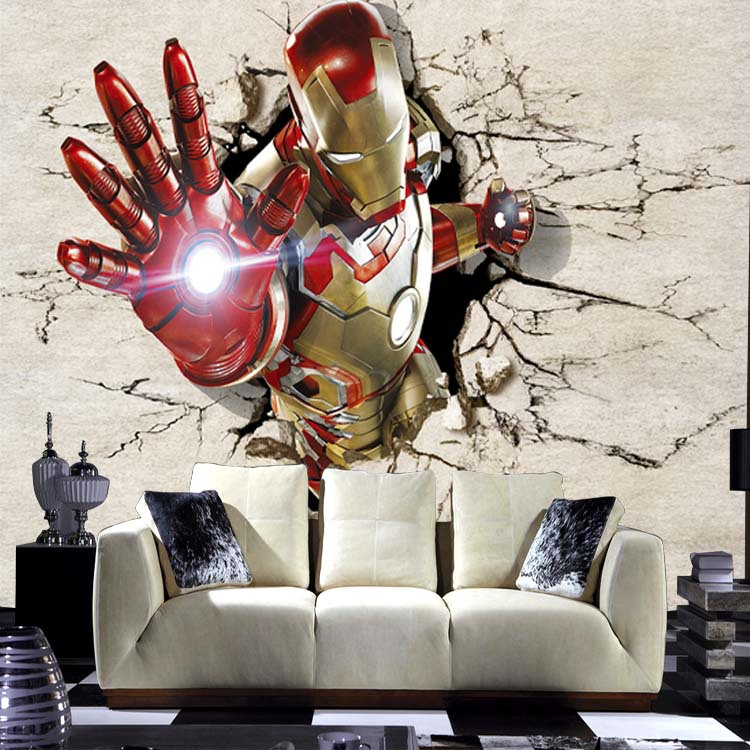 Online Shop Free Shipping 3D Setting Wall Of The Sitting Room Bedroom Bed  Childrenu0027s Room Wallpaper Mural Bar Iron Man Custom Sizes | Aliexpress  Mobile Part 43