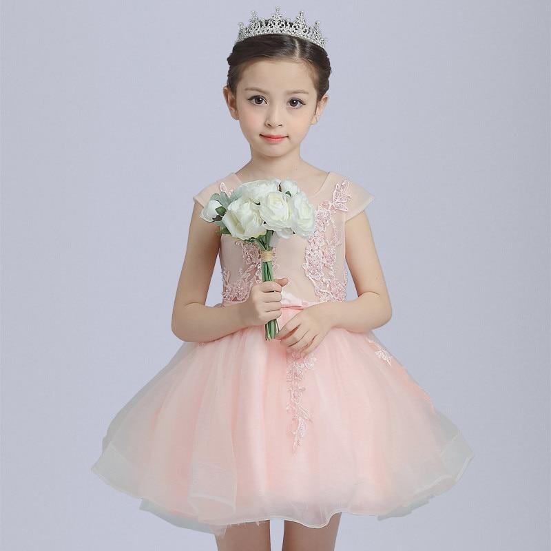 2017 Summer Girl Kids Floral Dress senza maniche laurea battesimo - Vestiti per bambini