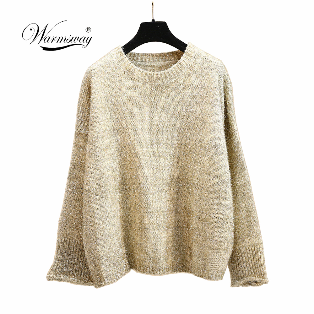 Hot gold lurex fluffy Knit Top Women Long Batwing Sleeve Big Size O neck Loose Embellish