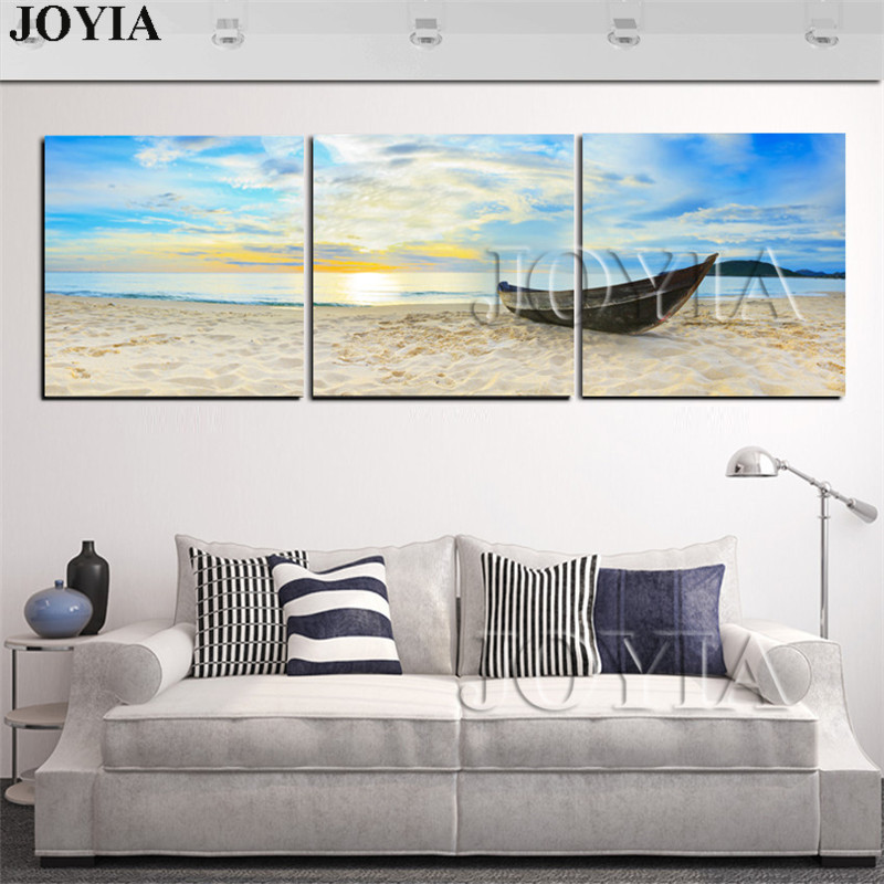3 unidades arenas de la playa cuadros barco pintura amanecer en el ...