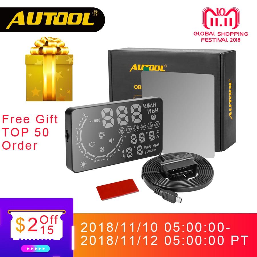 AUTOOL HUD Head Up Display Car OBD2 II Headup Speed Projector Auto OBD Smart Digital Speedometer Vehicle X30 X210 X220 X230 цена