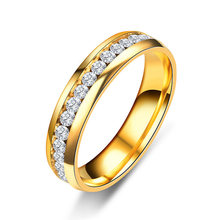 Silver Gold Color Crystal Wedding Rings For Women And Men Titanium 6mm Stainless Steel Engagement Ring Mens Jewelry Anillos(China)