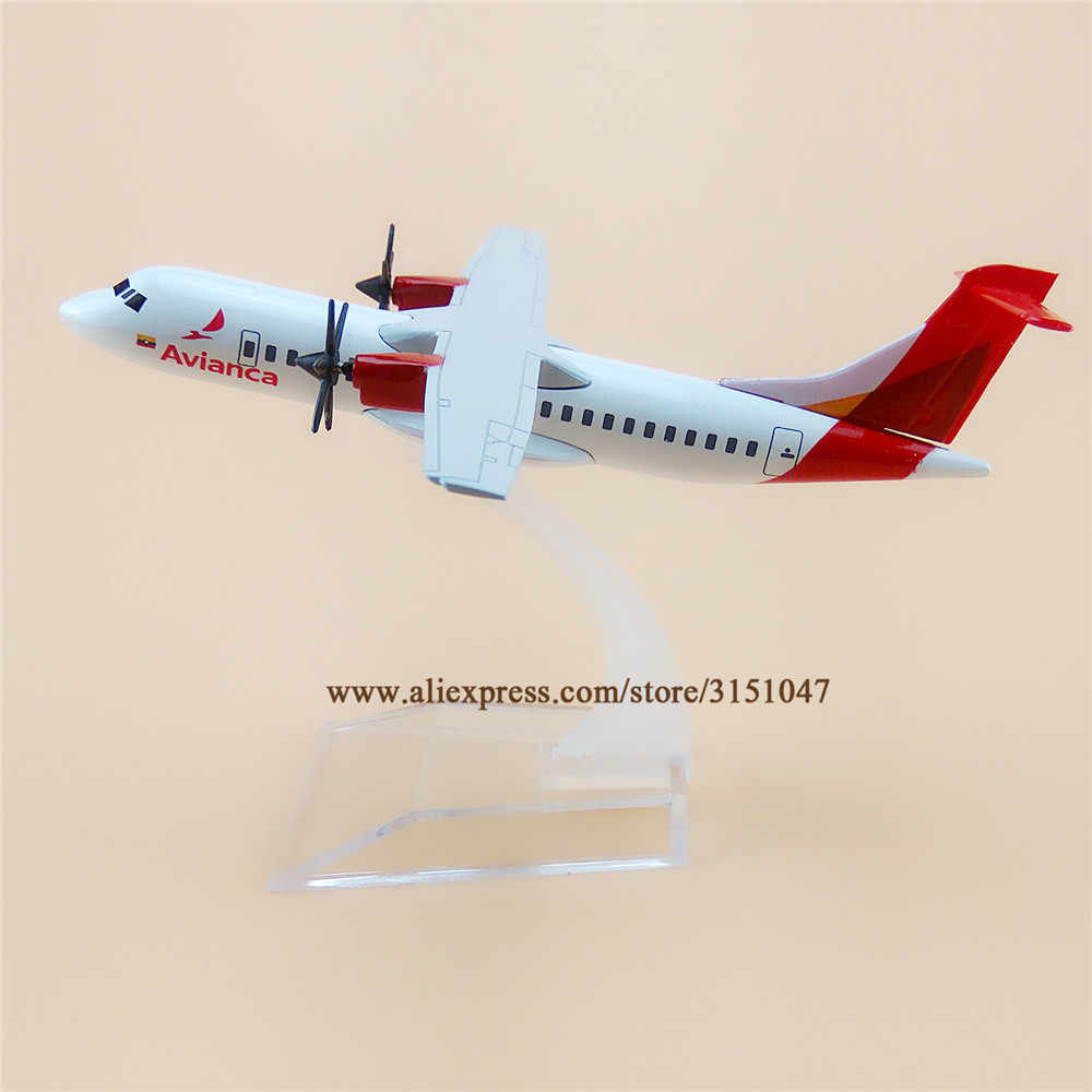 Alloy Metal Air Avianca ATR 600 Airlines Airplane Model Avianca ATR 600 Airways Plane Model Stand Aircraft Kids Gifts 16cm