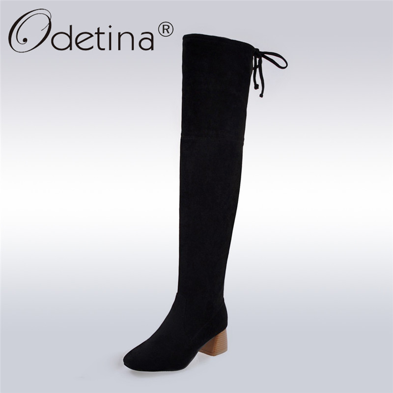 Odetina 2017 New Fashion Women Faux Suede Over The Knee Boots Chunky Heel Lace Up Stretch Fabric Thigh High Boots Big Size 34-43 superstar flock stretch boots runway fashion winter shoes med heel thigh high boots lace up bowtie women over the knee boots l15