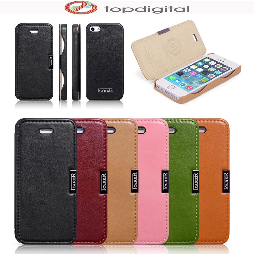 bilder für Icarer für iPhone SE Flip Fall Echtem Leder Abdeckung für iPhone SE 5 5 s Phone Cases Folio Magnetische Schutzhardcase luxus