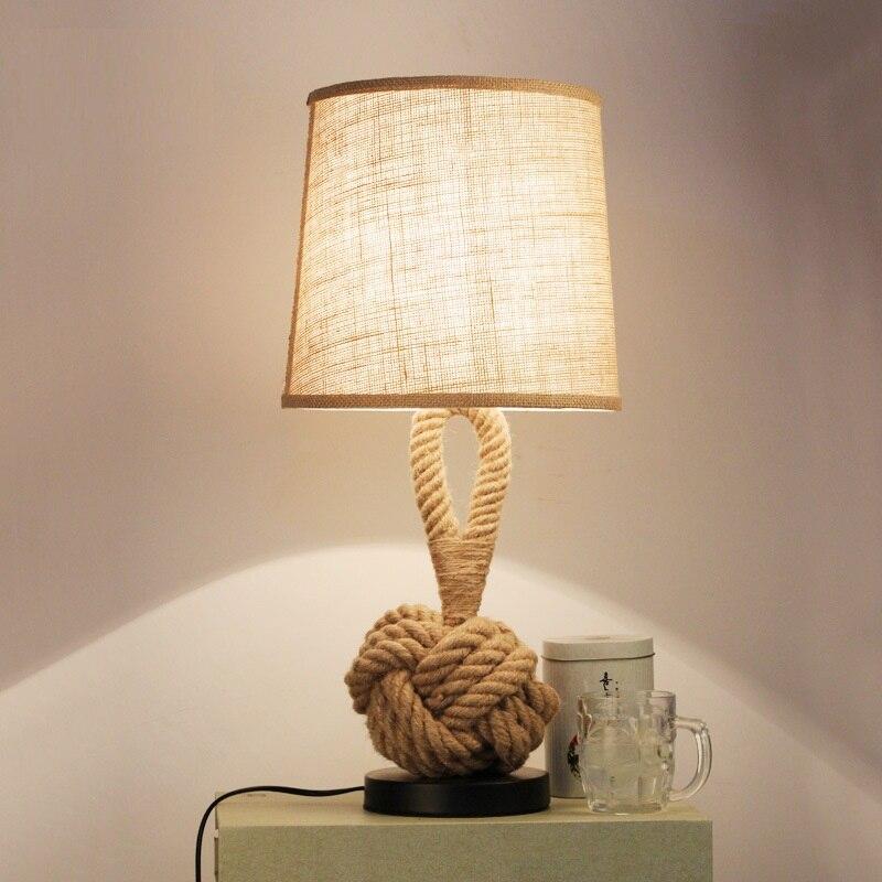 1X Vintage Table Light Art Decor Rope Table Lamp E27 Holder Incandescent Bulb Desk Lamps for Bedroom/Industrial/Living Room