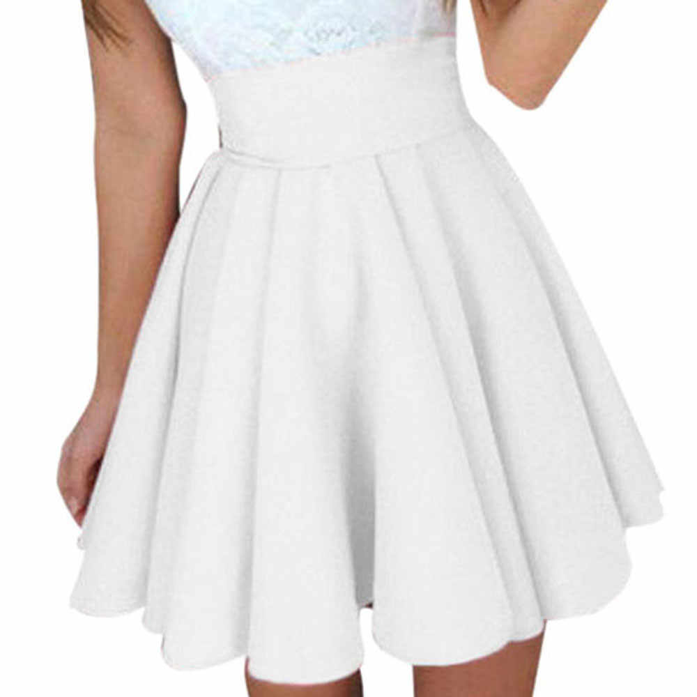 ... Saia Womens Solid Skirt Ladies Casual ball gown Mini Short Skirt Simple  High Waist Party Cocktail ... 00bef4551e99