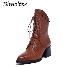 Bimolter 2018 Winter Autumn Genuine Leather Ankle Boots Women Lace-Up Cow Martin Fashion High Heels Shoes LAEA062