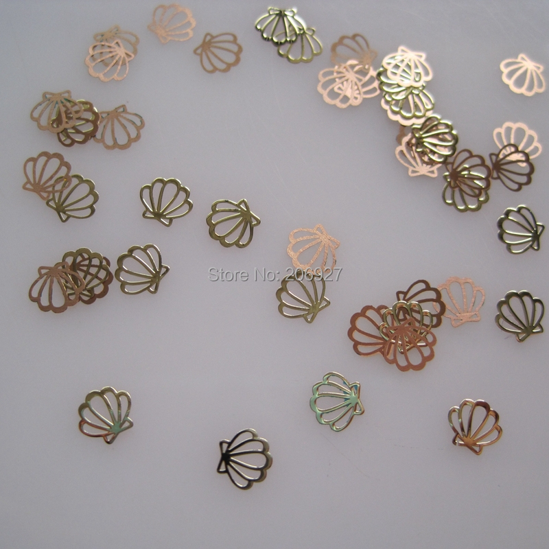 MS249-2 100pcs Gold Cute Shell Metal Sticker Nail As