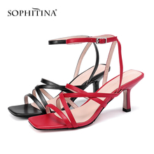 SOPHITINA Sexy Thin Heels Women Sandals Black Red High Quality Microfiber Shoes Fashion Party Summer Buckle Ladies Sandals PO175 asumer black apricot rose red fashion summer ladies shoes buckle thick platform prom shoes women high heels sandals